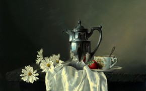 picture, still life, Alexei Antonov, table, pot, metal, reflection, Flowers, Daisies, cup, saucer, spoon, berry, strawberry, shawl