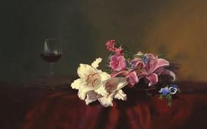 imagen, naturaleza muerta, Alexei Antonov, Flores, Lirio, Libros, copa, vino, mesa, mantel