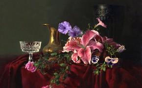 картина, натюрморт, Алексей Антонов, цветы, кувшин, бокал, хрусталь, ваза, лилии, незабудки, стол, ткань
