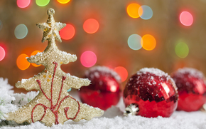 Tree, figure, Gold, Balls, red, bokeh, snow, Holidays, New Year, Christmas, New Year