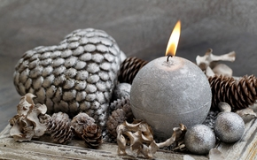 candle, heart, Balls, Balls, Christmas, Toys, silver, Cones, New Year, Christmas, Holidays, New Year