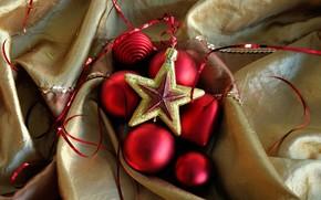 игрушки, елочные, звезда, шарики, красные, шары, ткань, Новый Год, Новый год