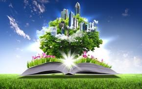Creatividad, csped, libro, Pgina, Flores, Rascacielos