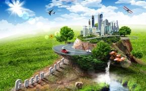 cratif, lphant, rivire, champignons, route, Machinerie, plan, avion, btiment, nuages