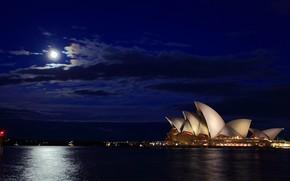 Sydney, Australia, notte, luna, traccia, mare