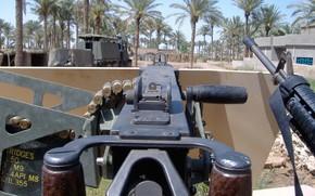 Arma, ver, de, primero, personas, caballete, arma de fuego, los sistemas de, Browning, fija, en, vehculo blindado.