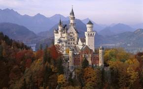 замок, Нойшванштайн, Германия, Бавария, осень