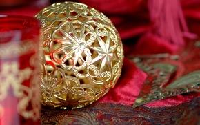 игрушка, новогодняя, елочная, золотая, шар, звезды, Новый Год, праздник, Рождество, Новый год