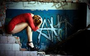 ragazza, rosso, vestire, camera, rovine, Laterizi, piastrella