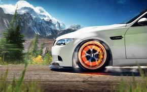 BMW, white, brake disk, support, Mountains, bmw