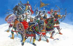 Русские, дружинники, эпоху, войн, междоусобиц, борьбы, с, татаро, монгольскими, завоевателями, и, немецкими, рыцарями.