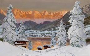 .Зимна, Альпы, пейзаж, горы, снег, закат, елка, домики, лед, золотой, туман