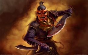 samurai, guerriero, spada, maschera, Swords, leone