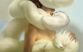 Art, girl, ferrets, fur, many, tenderness