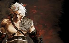 man, background, Art, white hair
