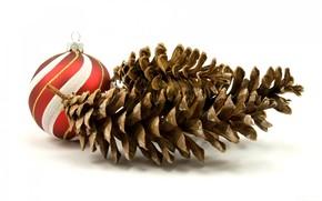 bianco, sfondo, giocattolo, palla, Coni, Capodanno