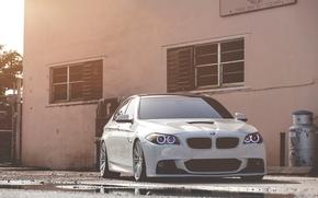 BMW, white, front, daylight, pool, bmw