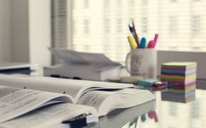 mesa, lugar de trabajo, Libros