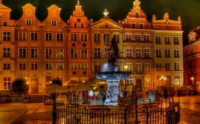 Poland, home, Fountains, gdansk, night, of