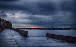evening, Cloudy, clouds, river, Neva, embankment, Sank-Petersburg