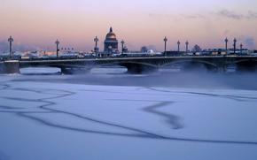 зима, город, река, Нева, мороз, мост, купол Исакиевского собора