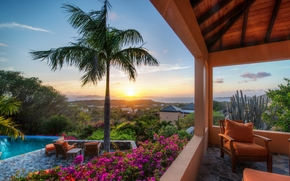 british virgin islands, virgin gorda, Британские Виргинские острова, Верджин-Горда, закат, пальма, бассейн, терраса, цветы, кактус, кресло