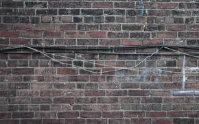 стена, текстура, кирпич, кабель