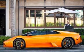 ламборгини, мурселаго, оранжевый, родстер, диски, человек, здание, Lamborghini