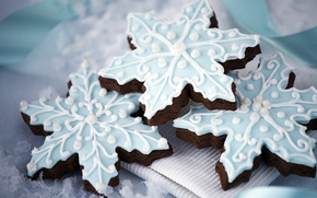 cookies, New Year, glaze, Snowflakes, dessert, baking, sweet, Holidays
