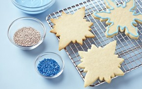 cookies, dough, Snowflakes, form, Powder, baking, Sweets, Holidays