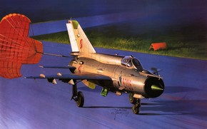 plane, Soviet, multipurpose, fighter, most, common, supersonic, combat, in, world, landing, with, issued, Brake, parachute.
