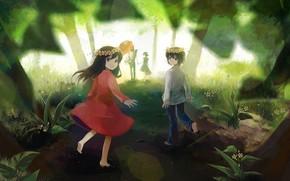 арт, Волчьи дети Амэ и Юки, девочка, мальчик, венки, аниме, дети, лес, природа, деревья, улыбка, цветы, дорога, зонт, пикник, семья