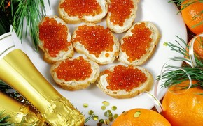 Sandwiches, roe, red, Champagne, oranges, New Year