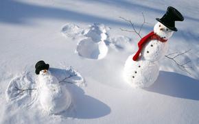 снеговики, шапки, шарф, зима, снег