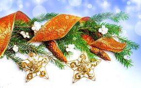 Giocattoli, Natale, Natale, Stella, oro, abete rosso, Coni, ramo, nastro, Capodanno, Natale, Capodanno