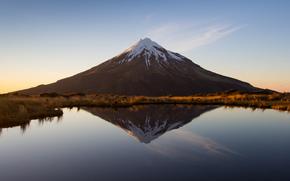 Новая Зеландия, гора, вулкан, Таранаки, озеро, отражение