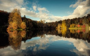 nature, autumn, lake, sky, Trees, reflection