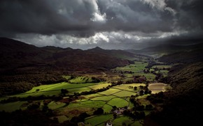 valley, England, Britain, sky, clouds