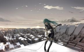 Art, Vocaloid, city, girl, guitar, roof, wire, music