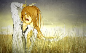 Art, Vocaloid, field, shirt, tie, hair, emotions, tape, grass, sunset