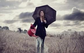 ragazza, ombrello, campo, situazione