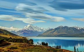 lago, nuovo, Zelanda, Montagne, paesaggio, cielo, Pukaki sud, isola, nuvole