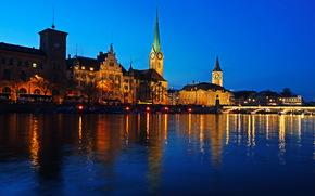 Швейцария, Река, zurich, Ночь, Города