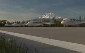 арт, трава, самолеты, асфальт, гора