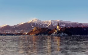 lake, castle, mountain, snow, forest, Winter, Ripple, spire, tower, ridge