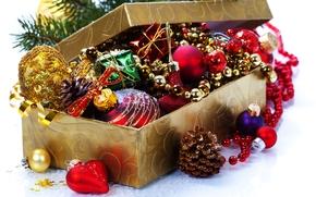 box, Natale, Giocattoli, Palle, Palle, Coni, Capodanno, Natale, ferie, Capodanno