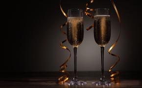 Champagne, calici, vacanza, Serpentina, Capodanno, Natale, Capodanno