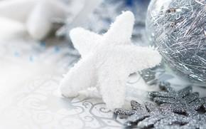 Christmas decorations, asterisk, snowflake, ball