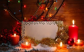 Card, Candles, twilight, Christmas decorations, tinsel, Berries, garland, artificial snow, New Year