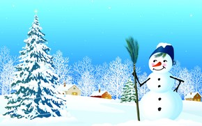 snowman, Tree, Christmas decorations, snow, houses, window, Star, New Year's Eve, New Year